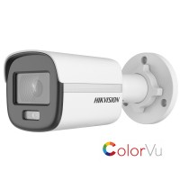 Camera bullet IP ColorVu Hikvision DS-2CD1027G0-L-4mm, 2MP, lentila 4 mm, H.265+, lumina alba 30 m, PoE, IP67