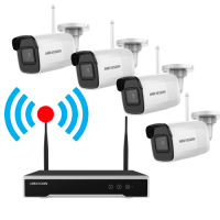 Kit supraveghere video Hikvision KIT-WIFI-2MP(4B) NVR 4 canale + 4 camere bullet 2MP Wireless